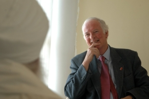 Peter Gilbert engaged in interfaith dialogue - photo provided by Pavilion